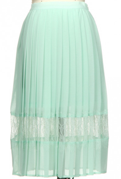 Skirt - Spring Enchantment Accordion Pleat Lace Insert Midi Skirt in Mint