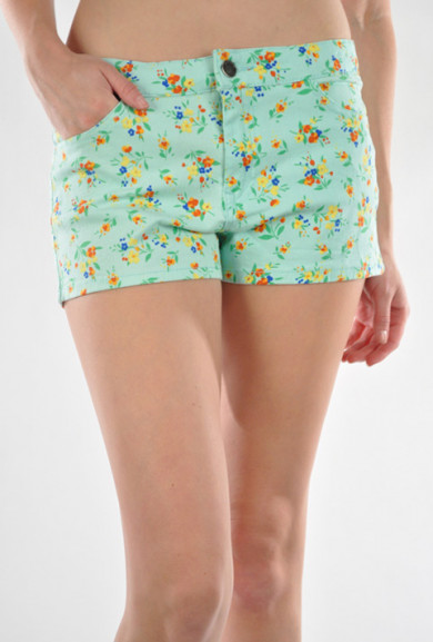 Shorts - Spring Foliage Floral Print Shorts in Mint
