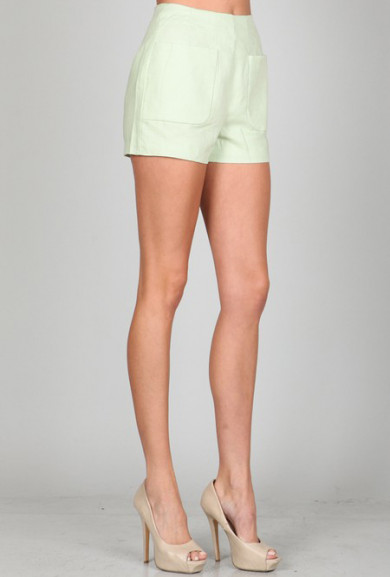 Shorts - Spring Prance High Waist Linen Pocket Shorts in Mint Green