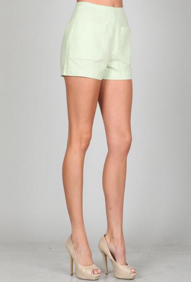 Shorts - Spring Prance High Waist Linen Pocket Shorts in Mint Green