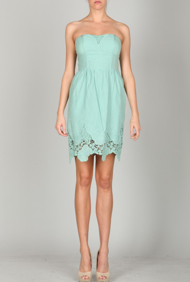 Dress - Springtime Euphony Strapless Lace Hem Dress in Sage