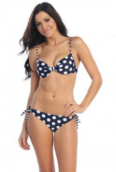 Bikini Set - Sprinkler Fun Polka Dot Bikini Set in Navy Blue