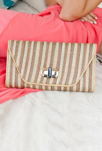 Clutch - Pacific Rim Oversized Striped Straw Beige Turquoise Clutch