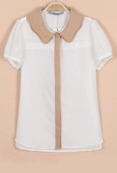 Blouse - Staff Meeting Scallop Collar Chiffon Blouse in White/Beige