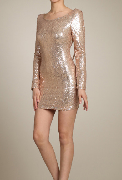 Dress - Starlit Evening Long Sleeve Scoop Neck Sequin Bodycon Dress in Gold
