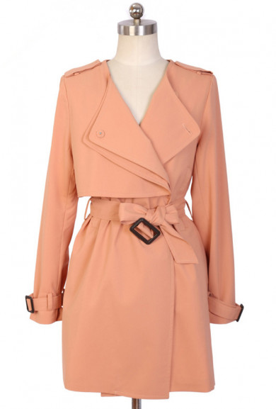 Coat - Fly Away Layered Storm Flap Fitted Trench Coat in Sweet Pink