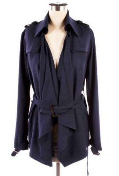 Jacket - Stormy Weather Draped Open Front Trench Jacket in Dark Navy