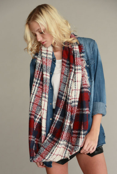 Scarf - Street Trend Flannel Infinity Scarf in Burgundy/Navy