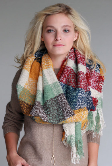 Scarf -Street Trend Multicolor Checker Frayed Scarf