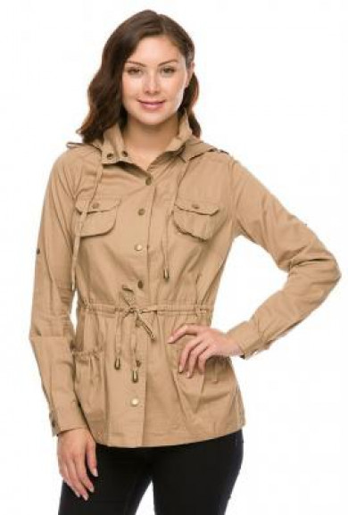 Jacket - Street Trends Khaki Military Utility Jacket
