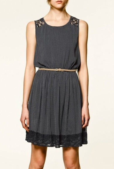 Dress - Study Date Lace Yoke Polka Dot Print Dress in Navy Blue