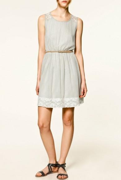 Dress - Study Date Lace Yoke Polka Dot Print Dress in White