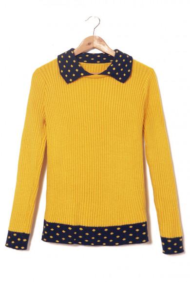 Sweater - Study Group Contrast Mustard/Navy Turn Collar Rib Knit Sweater