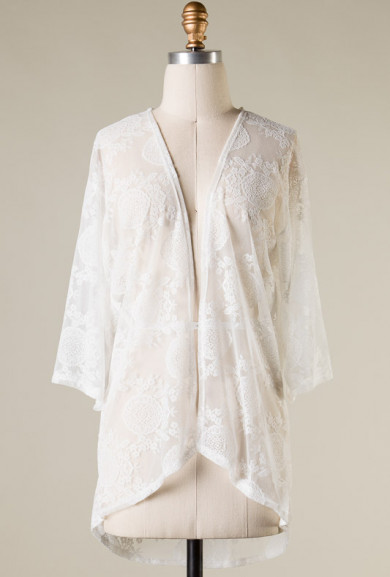 Cardigan - Summer Daydream 3/4 Sleeve Lace Mesh Cardigan in Off-White