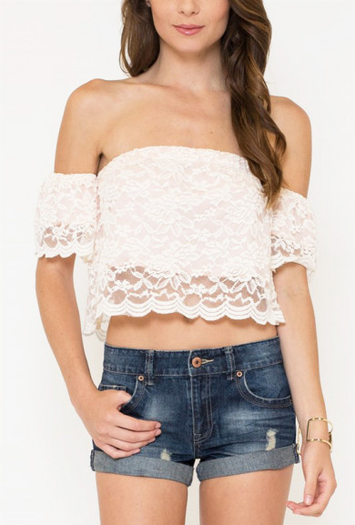 Crop Top - Summer Muse Lace Off Shoulder Crop Top in Cream