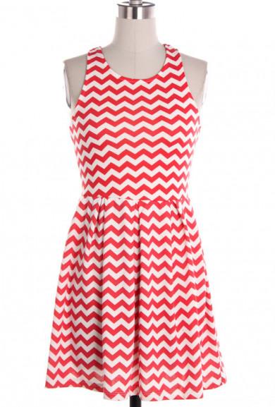 Dress - Summer Picnics Chevron Pattern Sleeveless Ponti Dress in Coral Red