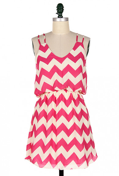 Dress - Summer Recreation Double Strap Chevron Print Dress in Fuchsia