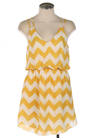Dress - Summer Recreation Double Strap Chevron Print Dress in Sunshine Yellow