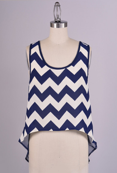 Summertide Adventures Chevron Print High Low Top in Navy