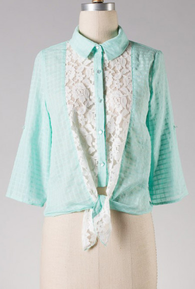 Blouse - Sunday Drive Lace Inserted Button Blouse in Mint Green