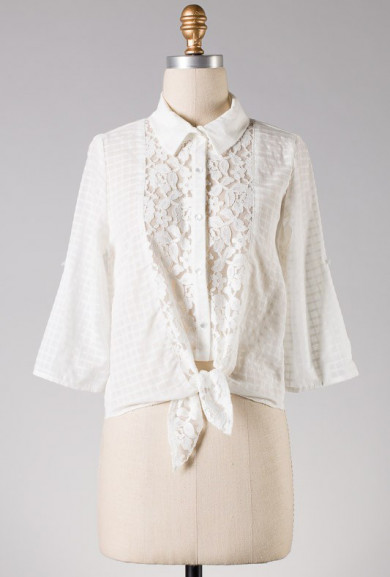 Blouse - Sunday Drive Lace Inserted Button Blouse in Off White