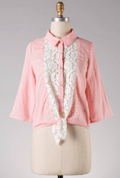 Blouse - Sunday Drive Lace Inserted Button Blouse in Pink