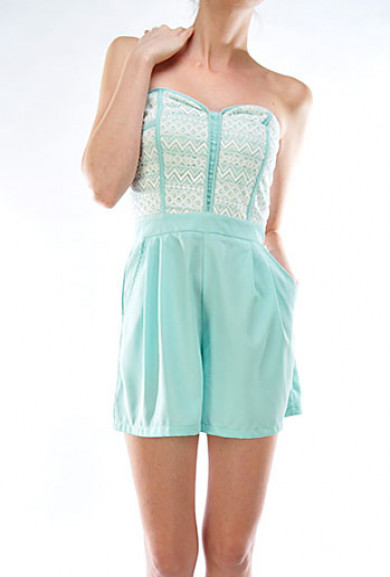 Romper - Sweet Talker Lace Bustier Sweetheart Mint Romper
