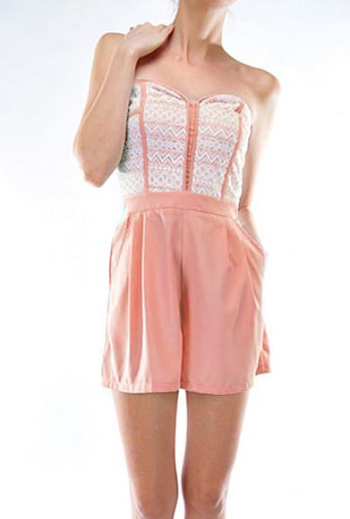 Romper - Sweet Talker Lace Bustier Sweetheart Pink Romper