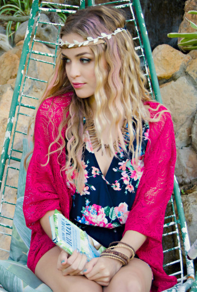 Cardigan - Sweet Temptations Lace Kimono Cardigan in Fuchsia