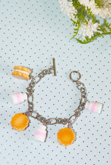 Bracelet - Sweet Dreams Milk and Cookies Charm Bracelet in Pink