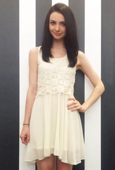 Dress - Swept Away Floral Crochet Sleeveless Layered Babydoll Dress in Ivory