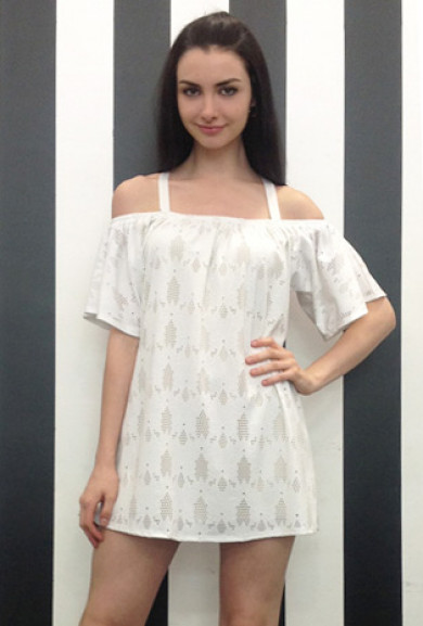 Dress - Swoon Worthy Cold Shoulder Eyelet Dress in White
