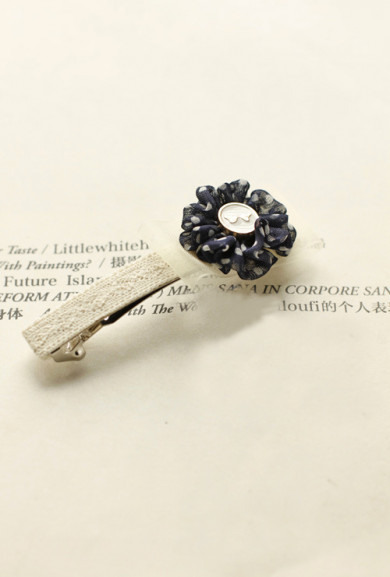 Barrette - Terms of Endearment Polka Dot Rosette Barrette Navy