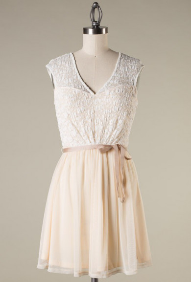 Dress - Tea Party Lace Overlay Sleeveless Tutu Dress in Crème Fraiche