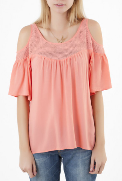 Top - Sweetest Thing Cold Shoulder 3/4 Bell Sleeve Top