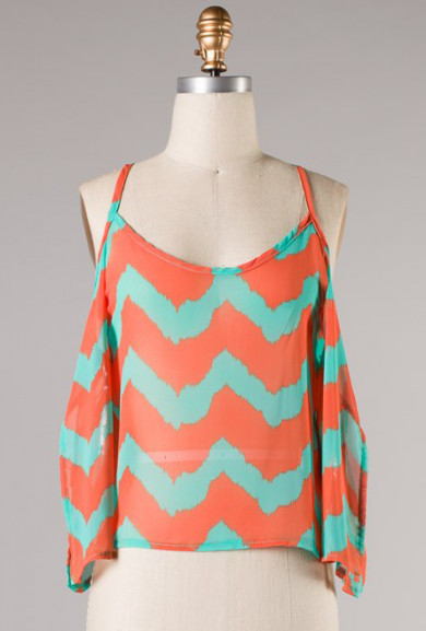 Top - Tropic Atmosphere Chevron Print Off-the-shoulder Top