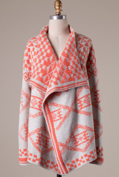 Cardigan - Tribal Romance Aztec Print Knit Cardigan in Coral