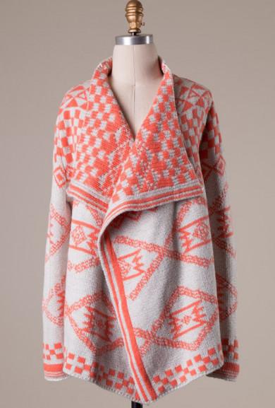 Cardigan - Tribal Romance Aztec Print Knit Cardigan in Coral