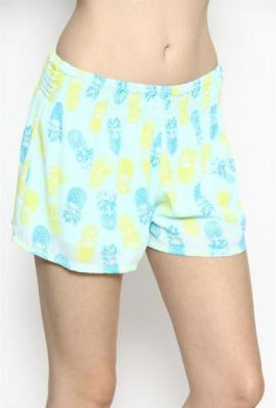 Shorts -Tropical Delight Pineapple Print Shorts in Mint