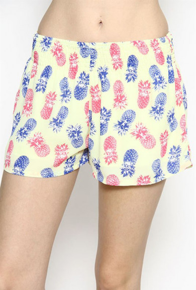 Shorts -Tropical Delight Pineapple Print Shorts in Yellow