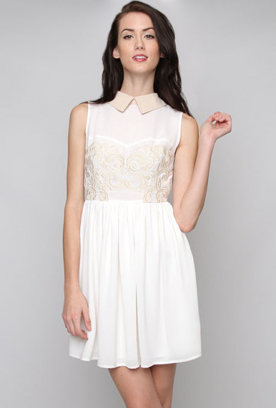 Dress - Twilight Kiss Embroidered Sleeveless Dress in Ivory