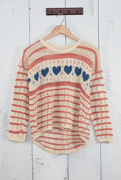Sweater - Lucky in Love Pink/Blue Heart and Striped Pointelle Knit Boyfriend Sweater
