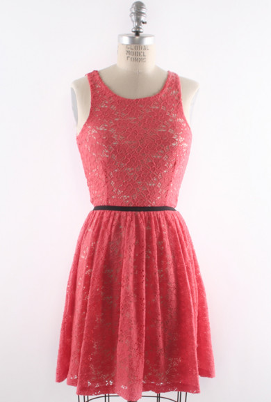 Dress - Uptown Etiquette Lace Banded Waist Dress in Coral