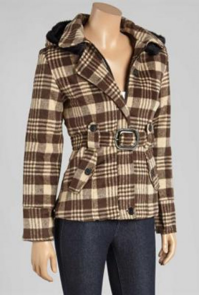 Jacket - Urban Heritage Tartan Brown Plaid Belted Jacket