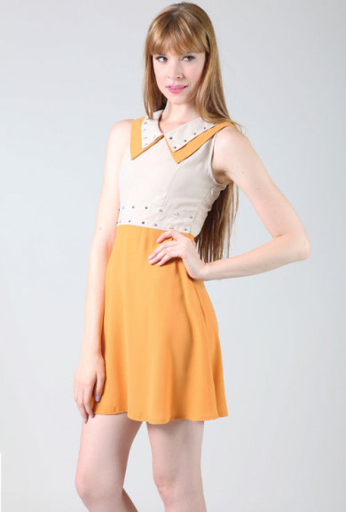 Dress - Vintage Rock Double Collar Studded Sleeveless Twofer Dress in Yellow