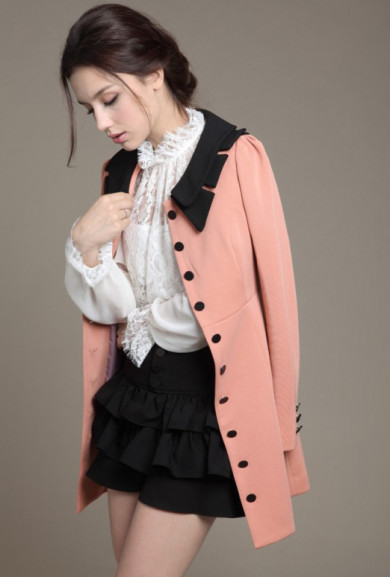 Coat - Historical Fiction Vintage Lapel Collar Swing Coat in Pink/Black