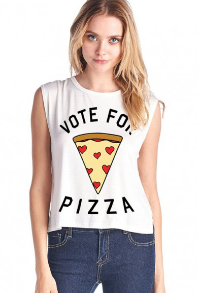 Tank Top - Vote for Pizza Muscle Tank in White