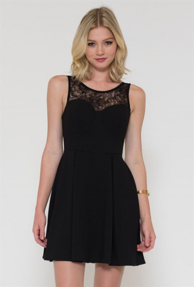 Dress - Wanna Dance Lace Yoke Black Skater Dress