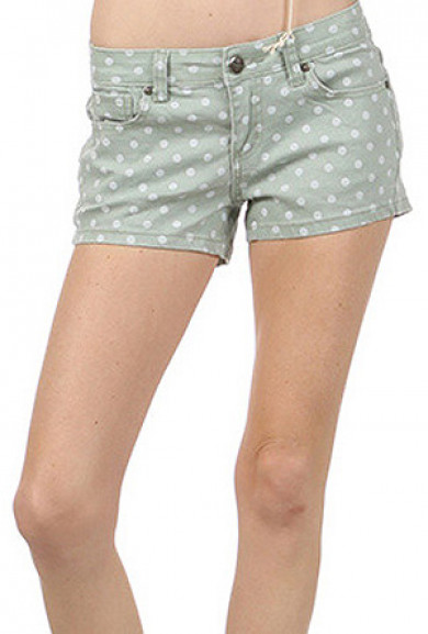 Shorts - Water Color Polka Dot Denim Vintage Mint Shorts