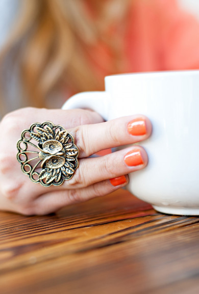 Rings - Whimsical Nocturne Bronze Owl Ring
